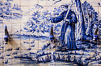 Beautiful, traditional, blue and white 18th century tile fountain mixing Chinese & Portuguese styles and depicting an evangelist priest, Macao, China