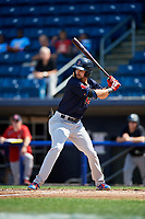 Lowell Spinners right fielder Lane Milligan (64) at bat during a game against the Staten Island Yankees on August 22, 2018 at Richmond County Bank Ballpark in Staten Island, New York.  Staten Island defeated Lowell 10-4.  (Mike Janes/Four Seam Images)