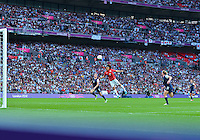 August 09, 2012: Japan's Yuki Ogimi attempts to score during Football Final match at the Wembley Stadium on day thirteen in Wembley, England. USA defeat Japan 2-1 to win it's third consecutive Olympic gold medal in women's soccer. ..