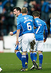 Hibs v St Johnstone...30.01.16   Utilita Scottish League Cup Semi-Final, Tynecastle..<br /> Joe Shaughnessy celebrates his goal<br /> Picture by Graeme Hart.<br /> Copyright Perthshire Picture Agency<br /> Tel: 01738 623350  Mobile: 07990 594431