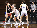SIOUX FALLS, SD - MARCH 6: Paiton Burckhard #33 of the South Dakota State Jackrabbits tries to steal from Mariah Murdie #33 of the Omaha Mavericks during the Summit League Basketball Tournament at the Sanford Pentagon in Sioux Falls, SD. (Photo by Richard Carlson/Inertia)