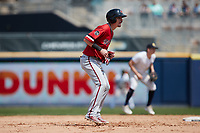 Carlos Tocci (20) of the Rochester Red Wings takes his lead off of second base against the Scranton/Wilkes-Barre RailRiders at PNC Field on July 25, 2021 in Moosic, Pennsylvania. (Brian Westerholt/Four Seam Images)