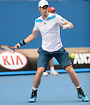 Andy Murray (GBR) defeats Stephane Robert (FRA)  6-1, 6-2, 6-7, 6-2 at the Australian Open in Melbourne, Australia on January 20, 2014