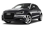 Stock pictures of low aggressive front three quarter view of 2016 Audi A1 Sport 3 Door Hatchback Low Aggressive