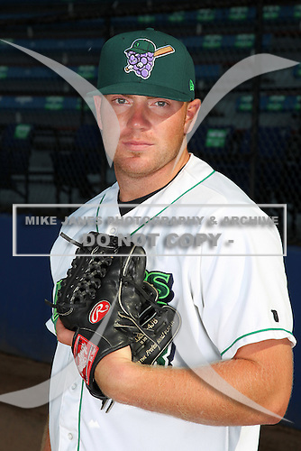 Jamestown Jammers pitcher Alan Oaks (43) poses for a photo before a game vs. the Staten Island Yankees at Russell Diethrick Park in Jamestown Jammers, New York July 15, 2010.   Jamestown defeated Staten Island 5-1.  Photo By Mike Janes/Four Seam Images