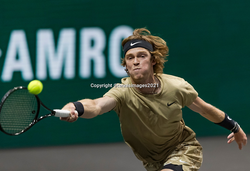 Rotterdam, The Netherlands, 2 march  2021, ABNAMRO World Tennis Tournament, Ahoy, First round :  Andrey Rublev (RUS)<br /> Photo: www.tennisimages.com/henkkoster
