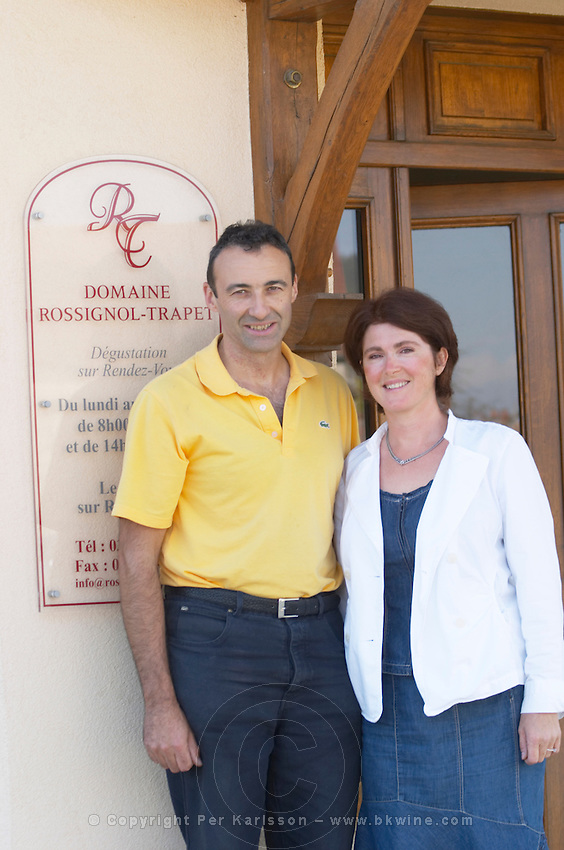 Nicolas Rossignol-Trapet and his wife Florence owner dom rossignol trapet gevrey-chambertin cote de nuits burgundy france