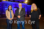 The Ashe Memorial Hall turned blue to honour the   International Week of Deaf People and Irish Sign Lanuage Awareness week to celebrate the Irish Sign Lanuage Act 2017, l to r: Bernadette O'Connor, Councillor Johnny Wall (Mayor of Tralee) and Catherine White.