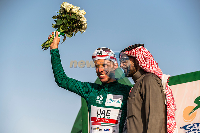 Rui Costa (POR) UAE Team Emirates retains the race leaders Green Jersey at the end of Stage 2 of the Saudi Tour 2020 running 187km from Sadus Castle to Al Bujairi, Saudi Arabia. 5th February 2020. <br /> Picture: ASO/Kåre Dehlie Thorstad | Cyclefile<br /> All photos usage must carry mandatory copyright credit (© Cyclefile | ASO/Kåre Dehlie Thorstad)
