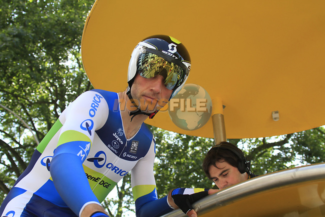 Michael Albasini (SUI) Orica GreenEdge signs in on the start ramp during the Prologue of the 99th edition of the Tour de France 2012, a 6.4km individual time trial starting in Parc d'Avroy, Liege, Belgium. 30th June 2012.<br /> (Photo by Eoin Clarke/NEWSFILE)