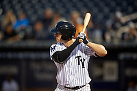 Tampa Yankees right fielder Austin Aune (31) at bat during a game against the Fort Myers Miracle on April 12, 2017 at George M. Steinbrenner Field in Tampa, Florida.  Tampa defeated Fort Myers 3-2.  (Mike Janes/Four Seam Images)