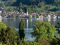 Blick auf Schweizer Ufer des Bodensees von Gaienhofen Horn, Höri, Baden-Württemberg, Deutschland, Europa<br /> Swiss Bank of Lake Constance, seen from Gaienhofen Horn, Höri, Baden-Württemberg, Germany, Europe