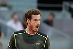 Andy Murray from UK reacts during his Madrid Open tennis tournament semifinal match against Nishikori Kei from Japan in Madrid, Spain. May 09, 2015. (ALTERPHOTOS/Victor Blanco)