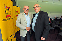 Earle Cooper (right) with Alisdair McBeth. Cricket Wellington membership badge presentations in the Long Room at the Basin Reserve in Wellington, New Zealand on Saturday, 14 November 2020. Photo: Dave Lintott / lintottphoto.co.nz