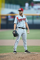 Carolina Mudcats relief pitcher Cody Beckman (34) looks to his catcher for the sign against the Fayetteville Woodpeckers at SEGRA Stadium on May 18, 2019 in Fayetteville, North Carolina. The Mudcats defeated the Woodpeckers 6-4. (Brian Westerholt/Four Seam Images)