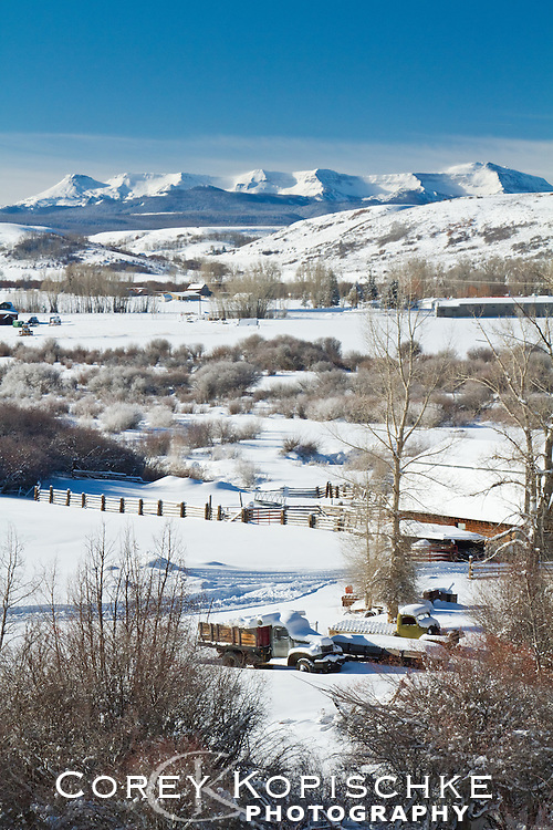 Flat tops and Yampa ranch under a blanket of fresh snow.