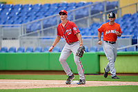 Washington Nationals first baseman Blake Chisolm (14) during a Florida Instructional League game against the Miami Marlins on September 26, 2018 at the Marlins Park in Miami, Florida.  (Mike Janes/Four Seam Images)