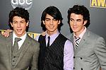 Jonas Brothers - Nick Jonas, Joe Jonas and Kevin Jonas  at the 2008 American Music Awards at the Nokia Theatre, Los Angeles on 23rd November 2008.
