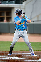 Ian Happ (5) of the Myrtle Beach Pelicans at bat against the Winston-Salem Dash at BB&T Ballpark on April 19, 2016 in Winston-Salem, North Carolina.  The Dash defeated the Pelicans 6-5.  (Brian Westerholt/Four Seam Images)