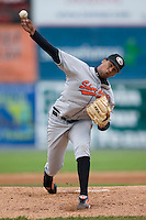Delmarva starting pitcher Pedro Beato (27) in action versus Hagerstown at Municipal Stadium in Hagerstown, MD, Monday, May 14, 2007