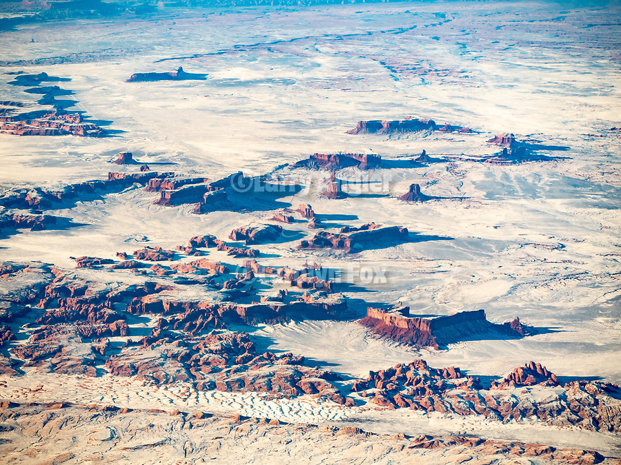 Monument Valley, Arizona and the Navajo Nation from a window seat on a United Airlines flight from Chicago to Los Angeles over America's Flyover County.