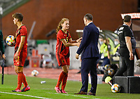 Jarne Teulings (5) of Belgium pictured with headcoach Ives Serneels of Belgium during a female soccer game between the national teams of Belgium , called the Red Flames and Albania in the second game in the qualification for the  FIFA Women's World Cup in group F , on tuesday 21 st of September 2021  in Brussels , Belgium . PHOTO SPORTPIX