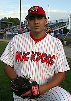 July 17, 2003:  pitcher Matt Padilla of the Batavia Muckdogs during a game at Dwyer Stadium in Batavia, New York.  Photo by:  Mike Janes/Four Seam Images