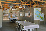 The interior communal room in a lodge on the remote island of Kiritimati in Kiribati.