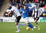St Mirren v St Johnstone…19.10.19   St Mirren Park   SPFL<br />Scott Tanser is closed down by Stephen McGinn and Danny Mullen<br />Picture by Graeme Hart.<br />Copyright Perthshire Picture Agency<br />Tel: 01738 623350  Mobile: 07990 594431