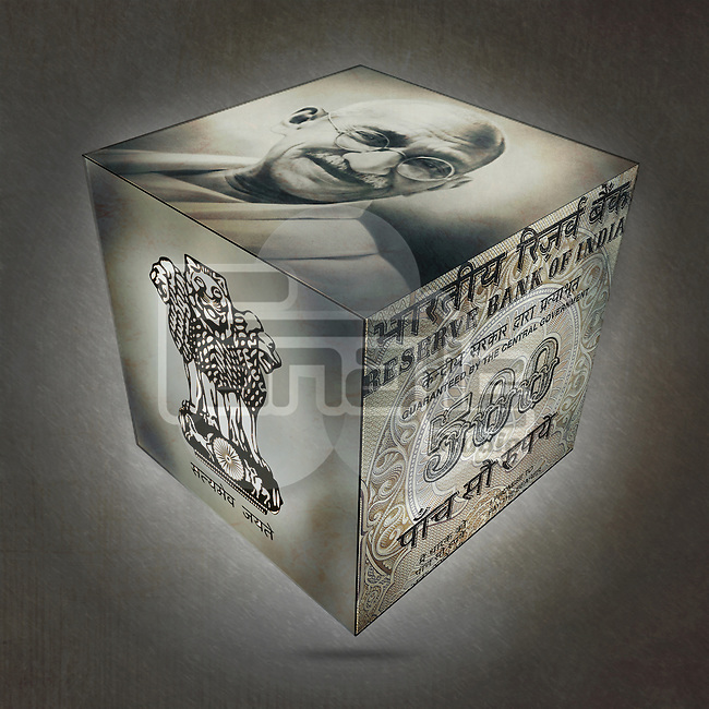 Three sides of cube with Mahatma Gandhi, emblem and five hundred Rupee note