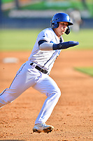 Asheville Tourists Korey Lee (5) rounds third base during a game against the Greenville Drive on May 21, 2021 at McCormick Field in Asheville, NC. (Tony Farlow/Four Seam Images)