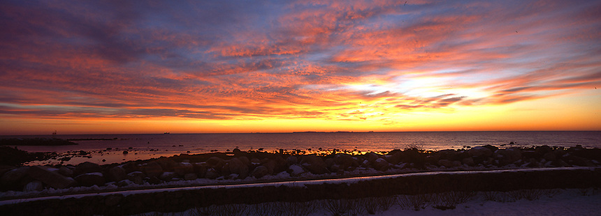 Sunrise over the Atlantic Ocean at Rye, New Hampshire. Photograph by Peter E. Randall
