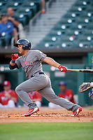 Lehigh Valley IronPigs second baseman Heiker Meneses (3) follows through on a swing during a game against the Buffalo Bisons on June 23, 2018 at Coca-Cola Field in Buffalo, New York.  Lehigh Valley defeated Buffalo 4-1.  (Mike Janes/Four Seam Images)