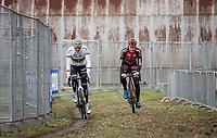 CX World Champion Mathieu van der Poel (NED/Corendon-Circus) warming up alongside Daan Soete (BEL/Pauwels Sauzen - Bingoal)<br /> <br /> Elite Men's Race<br /> UCI cyclocross WorldCup - Koksijde (Belgium)<br /> <br /> ©kramon