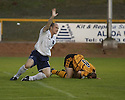 13/08/2002                   Copyright Pic : James Stewart.File Name : stewart-alloa v ross cty 06.COUNTY'S STEVEN FERGUSON STARTS THE CELEBRATION AS ALLOA'S BROWN FERGUSON BURIES HIS HEAD IN THE GROUND AFTER HE SCORED INTO HIS OWN NET....Payments to :-.James Stewart Photo Agency, 19 Carronlea Drive, Falkirk. FK2 8DN      Vat Reg No. 607 6932 25.Office     : +44 (0)1324 570906     .Mobile  : +44 (0)7721 416997.Fax         :  +44 (0)1324 570906.E-mail  :  jim@jspa.co.uk.If you require further information then contact Jim Stewart on any of the numbers above.........