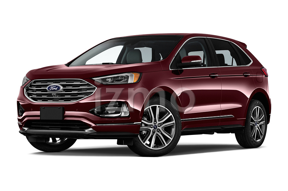 Stock pictures of low aggressive front three quarter view of a 2019 Ford Edge Titanium 5 Door SUV