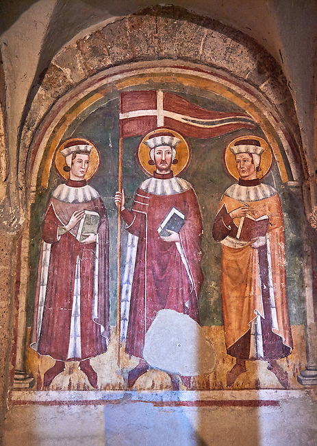 14th century frescp of the patron siants of Tuscania in the crypt of The 8th century Romanesque Basilica church of St Peters, Tuscania, Lazio, Italy