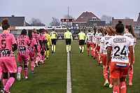 players and referees pictured enetering the pitch during a female soccer game between SV Zulte - Waregem and Sporting Charleroi on the eleventh matchday of the 2020 - 2021 season of Belgian Scooore Womens Super League , saturday 23 th of January 2021  in Zulte , Belgium . PHOTO SPORTPIX.BE | SPP | DIRK VUYLSTEKE
