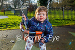Little Millie Moriarty enjoying the swings in the playground in the Tralee Town park on Friday