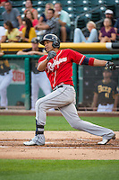 Leury Bonilla (3) of the Tacoma Rainiers at bat against the Salt Lake Bees in Pacific Coast League action at Smith's Ballpark on September 2, 2015 in Salt Lake City, Utah. Tacoma defeated Salt Lake 13-6. (Stephen Smith/Four Seam Images)