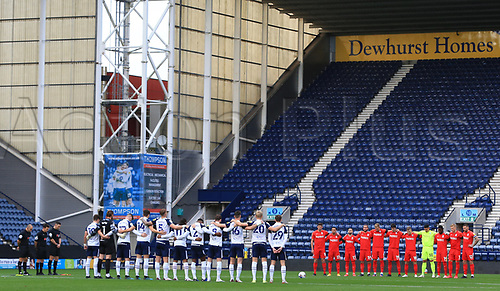 31st October 2020; Deepdale Stadium, Preston, Lancashire, England; English Football League Championship Football, Preston North End versus Birmingham City; players and match officials observe a minute's silence in memory of former Preston player Nobby Stiles