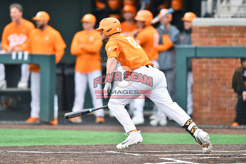 Tennessee Volunteers designated hitter Pete Derkay (10) swings at a pitch during a game against the Appalachian State Mountaineers at Lindsey Nelson Stadium on February 16, 2019 in Knoxville, Tennessee. The Volunteers defeated Mountaineers 2-0. (Tony Farlow/Four Seam Images)