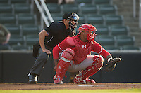 Lakewood BlueClaws catcher Deivi Grullon (4) sets a target as home plate umpire David Martinez looks over his shoulder during the game against the Kannapolis Intimidators at Kannapolis Intimidators Stadium on May 10, 2016 in Kannapolis, North Carolina.  The BlueClaws defeated the Intimidators 5-3.  (Brian Westerholt/Four Seam Images)
