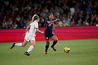 ORLANDO, FL - MARCH 05: Lynn Williams #13 of the United States moves with the ball during a game between England and USWNT at Exploria Stadium on March 05, 2020 in Orlando, Florida.
