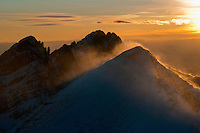 Mt. Humboldt at sunset, with Crestone Needle in back.  Looking northwest.  Feb 2013.  82615