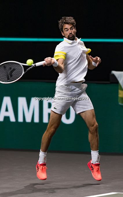 Rotterdam, The Netherlands, 5 march  2021, ABNAMRO World Tennis Tournament, Ahoy,  Quarter final: Jeremy Chardy (FRA). Photo: www.tennisimages.com/henkkoster