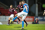 St Johnstone v Hearts…05.04.17     SPFL    McDiarmid Park<br />Brian Easton hits the crossbar<br />Picture by Graeme Hart.<br />Copyright Perthshire Picture Agency<br />Tel: 01738 623350  Mobile: 07990 594431