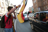 Germany National Soccer Team fans in Erfurt, Germany drive around in cars honking their horns and waving German flags to celebrate .Germany's 2-0 win over Sweeden  in the second round of the 2006 FIFA World Cup on Saturday June 24th, 2006.