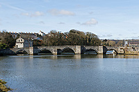 Pictured: River Teifi in Cardigan, west Wales, UK. Tuesday 20 March 2018<br /> Re: The funeral of two year old Kiara Moore, who died after being recovered from a silver Mini car found in river Teifi in Cardigan will be held today (Tue 27 Mar 2018) at Parc Gwyn Crematorium, Narberth, west Wales.<br /> Kiara was taken at the University Hospital of Wales in Cardiff after being rescued but was pronounced dead.<br /> It is believed the car she was in, rolled down a slipway while her mother got out momentarily to get cash out of the family business premises.<br /> Her parents Jet Moore and Kim Rowlands have expressed their grief on social media.