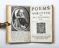 BNPS.co.uk (01202) 558833. <br /> Pic: PeterHarrington/BNPS<br /> <br /> A rare first edition of William Shakespeare's celebrated poetry has emerged for sale for a staggering £275,000.<br /> <br /> The finely bound volume, titled Shakespeare's Poems, was printed in 1640 and contains 146 out of his 154 sonnets.<br /> <br /> After spending four decades in American private collections, it had been brought back to Britain by London fine book dealer Peter Harrington.<br /> <br /> They are displaying it at their Mayfair bookshop and say it is the 'practically the first obtainable printing of the Bard's famous sonnets'.